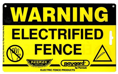 "Parker Mc Crory Mfg Co 2160 Baygard, 8"" X 4"", Electric Fence Warning Sign"