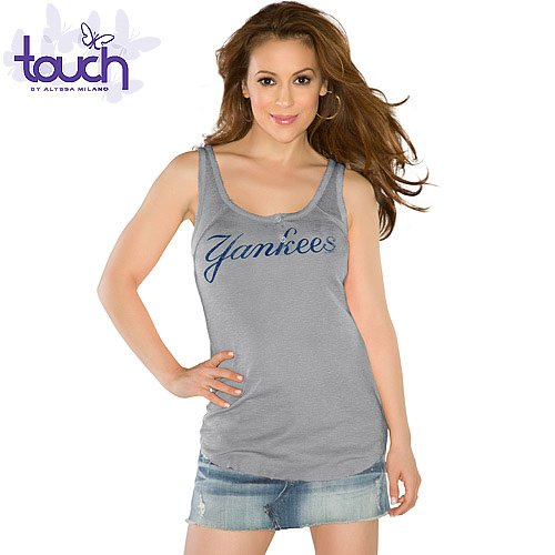 MLB Touch by Alyssa Milano New York Yankees Ladies Curve Ball Tank Top - Ash (Large) at Amazon.com