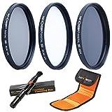 67mm レンズフィルター、K&F Concept® フィルターキット(UV+CPL+ND4)67mm UV レンズ保護フィルター 紫外線吸収用 超薄型+CPL 67mm 偏光フィルター 反射除去用+ND4 67mm 減光フィルター 光量調節用 Canon EOS 1200D 650D 600D 550D 450D 100D 18-135mm Nikon D7100 D80 D90 D7000 D5200 D5100 D3200 D5300 18-105mmデジタル一眼レフカメラ専用+クリーニングペン+フィルターケース