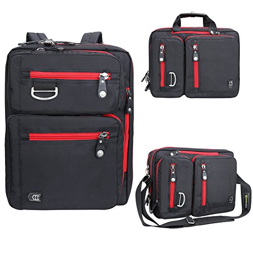 Laptop Briefcase Backpack, Evecase Unisex Lightweight Convertible Laptop Messenger Backpack Rucksack fits up to 17.3-inch Laptop / Notebook / MacBook / Chromebook - Black with Red Zipper (Hp Split X2 11 Inch compare prices)
