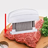FOME Detachable Grade 48 Stainless Steel Blades Meat Tenderizer Kitchen Tool & Knife (White)+ FOME GIFT