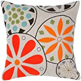 Rizzy Home T-4147 Decorative Pillows, 18 by 18-Inch, Beige/Orange, Set of 2