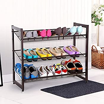 SONGMICS 3-Tier Stackable Metal Shoe Rack Flat & Slant Adjustable Shoe Organizer Shelf for Closet Bedroom & Entryway Bronze ULMR03A