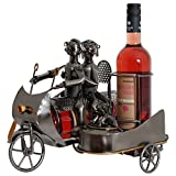 BRUBAKER Portabottiglie da vino regalo - motociclisti coppia sulla moto con il cane in carrozzino