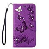 Sony Xperia XA1 Ultra Case, ARSUE Premium Soft Flip Folio [Kickstand Feature] PU Leather Wallet Butterfly Flower Case with ID&Credit Card Pockets,Purple/Bling (NOT fit Sony Xperia XA / XA Ultra)