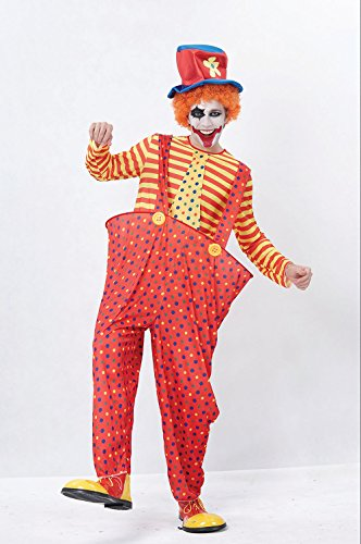Bristol Novelty Red/Yellow Hoop Clown Adult Costume - Men's - One Size