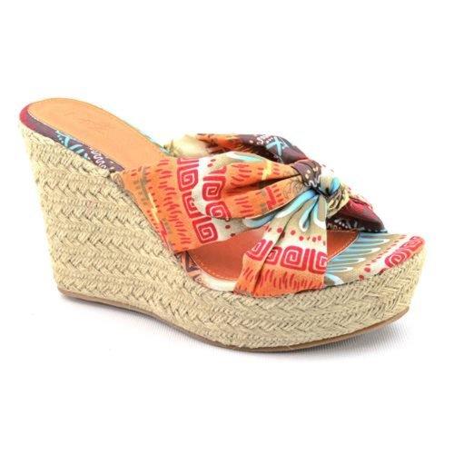 Mia Girl Rita Womens Size 12 Orange Open Toe Fabric Wedges Heels Shoes front-458478