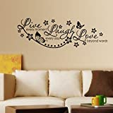 decals design live laugh and love family wall sticker pvc vinyl 60 cm x 45 cm black - Design Stickers For Walls