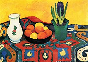 August Macke - Still Life with begonia apples and pear peel & stick decal, 24.09 X 17.04