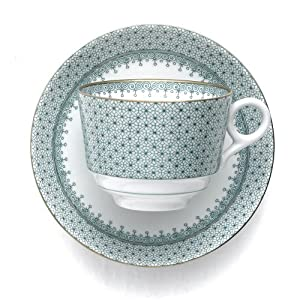 Mottahedeh Green Lace Cup and Saucer