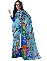 Blue Color Georgette Printed Saree With Blouse 7038