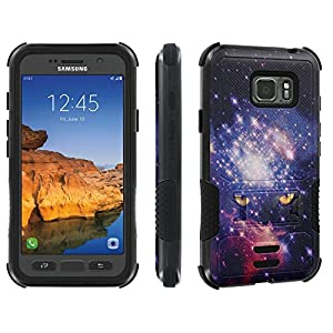 Galaxy Active S7 [AT&T] Tough Case [Skinguardz] [Black/Black] ShockProof Armor [Kick Stand] - [Space Cat] for Samsung Galaxy [S7 Active]