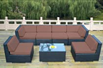 Hot Sale ohana collection PN0703ABRN Genuine Ohana Outdoor Patio Wicker Furniture 7-Piece All Weather Gorgeous Couch Set with Free Patio Cover