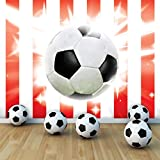 Football on Red and White Strips Wallpaper Mural