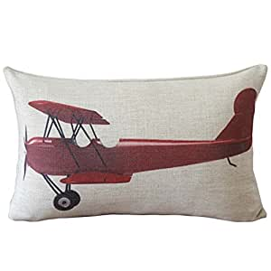 Decorative Airplane Pillow : Amazon.com: yepmax Vintage Red Airplane Decorative Lumbar Pillow Cover 11 X 17 Inch: Home & Kitchen