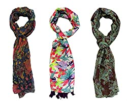 Printed Multi-Color Stoles Combo For Girls By Slover
