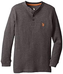 U.S. Polo Assn. Big Boys' Long Sleeve Solid Thermal Henley, Dark Heather Gray, 10/12