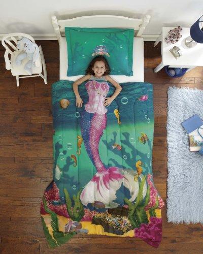 Dream Factory Sea Princess Ultra Soft Microfiber 2-Piece Comforter Sham Set, Twin, Blue