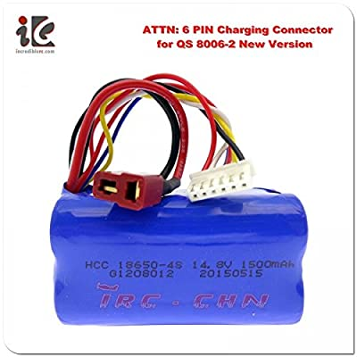 """(Ship from USA) 5x 6 PIN 14.8V 1500MAH BATTERY G.T. 53"""" QS 8006 RC HELICOPTER PARTS QS8006 -014"""