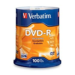 Verbatim 95102 4.7 GB up to 16x Branded Recordable Disc DVD-R 100-Disc Spindle