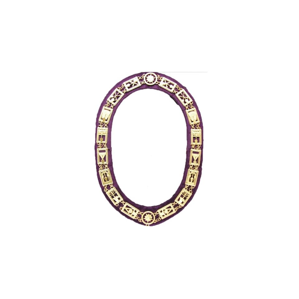 Royal & Select Masters Cryptic Council Masonic Chain Collar for the Freemason (Gold plated with Purple Velvet Backing)