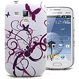 Accessory Master Housse en silicone pour Samsung Galaxy TREND S Duos S7562/ S7560 Papillon Fleur Violet