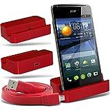 (Red + cavo dati) Huawei Ascend Y550 Protective Micro Desktop USB Charging Dock Monte stand con Micro USB piatto...