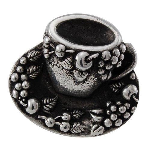 Vicenza Designs K1062  Cappuccino Cup Knob, Large, Antique Silver