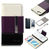 ATC Lumsing(TM) Colorful Wallet Faux Leather Flip ID Credit Card Holder Pouch Card Case Folio Cover for Apple iPhone 5 iPhone 5S with Screen Protector Set & Stylus Pen (White+Purple+Black)