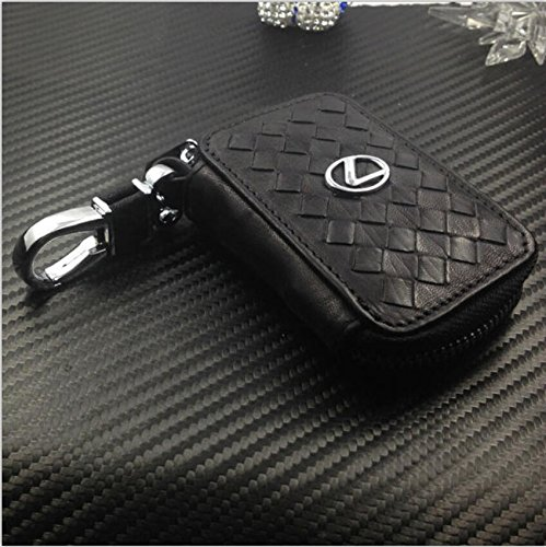 Moonet Replacement Remote Head Ignition Key Keyless Entry Combo Diamond Black Leather Key Holder Rotatable For Lexus With Lexus Logo