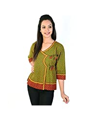 Jaipur RagaEthnic Hand Block Bootie Print Pure Cotton Top Green Cotton Kurti