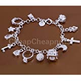 Smrroy New Sterling Solid Silver Plated Luxury 13 Charms Ring Moon Bracelet
