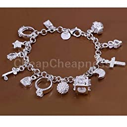 New Sterling Solid Silver Plated Luxury 13 Charms Ring Moon Bracelet (D)