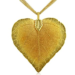 Heart Shaped 24K Gold Overlay Leaf Pendant on Multi Chain Necklace