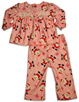 Little Me - Little Girls Long Sleeve Santa Claus Pajamas, Pink 30575-2T