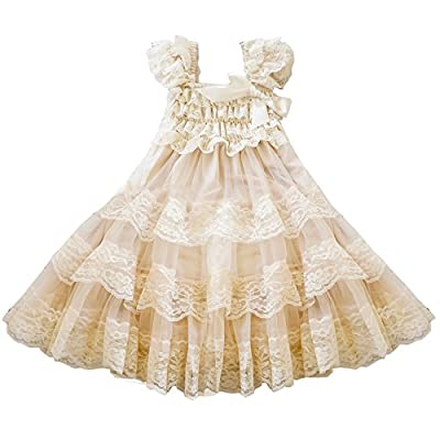 CVERRE lace flower rustic Burlap girl baby country wedding flower dress