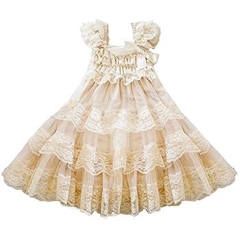 CVERRE lace flower rustic Burlap girl baby country wedding flower dress