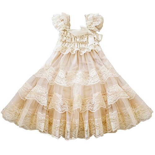 CVERRE lace flower rustic Burlap girl baby country wedding flower dress size M