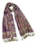 Rayon Metallic Paisley Flower Garden Two-Sided Reversible Scarf - Purple