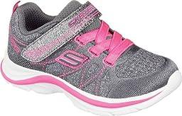 Skechers Kids Swift Kicks Running Shoe, Charchaol/Neon Pink,4 M US Big Kid