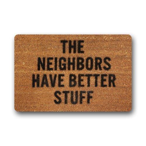 """Custom The Neighbors Have Better Stuff Machine Washable Rug Decorative Doormat Indoor/Outdoor Doormat 23.6"""" x 15.7"""" Non-woven Fabric Non Slip"""
