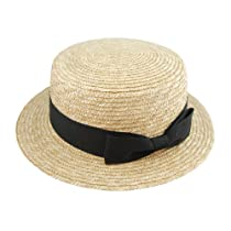 Summer Natural Straw Hat, Flat Top, Brimmed Boater Hat with Brown Bow Ribbon