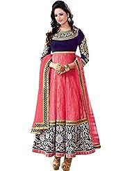 Dancing Girl Pink Brasso Embroidered Semistitched Party Wear Anarkali Salwar Suit