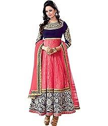 RockChin Fashions Pink Velvet Semi-Stitched Anarkali Suit