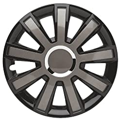 Albrecht 49404 Flash VIII Gloss Black/Grey Plus 14″ Wheel Cover, (Set of 4)