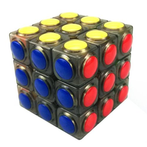Yj Linggan Inspiration 3x3x3 Cube Puzzle. Round Plastic Tile on Transparent Body- Black - 1