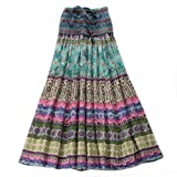 Aubig Womens Bohemian Maxi Silk Connect Color Striped Long Skirt Ballet Dress Blue
