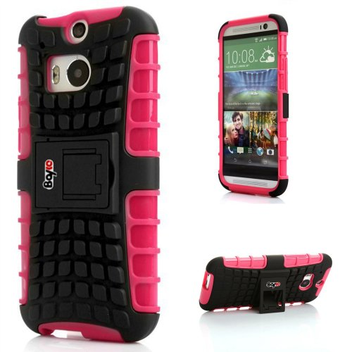 Bayke Brand / Htc One M8 2-Piec Dual Layer Tire Tread Combo Heavy Duty Rugged Matte Skidproof Hard Protective Case Cover With Kickstand (Compatible With All Htc One M8 2014 Models, Including Htc One+, Htc One Plus, Htc One 2) (Hot Pink Tpu Inner)