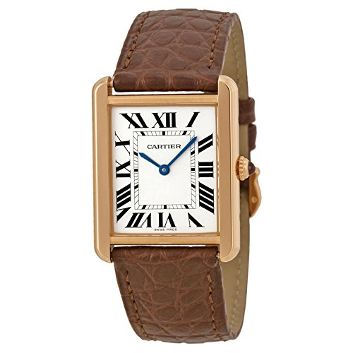 Cartier Women's Tank Solo Brown Leather Band Rose Gold Plated Case Quartz Silver-Tone Dial Watch W5200025