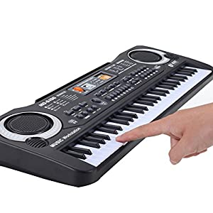 E Support™ 61 Key Electronic Music Portable Electric Keyboard Piano Organ Musical Toys Instrument Kids Gift Black with Microphone by E Support